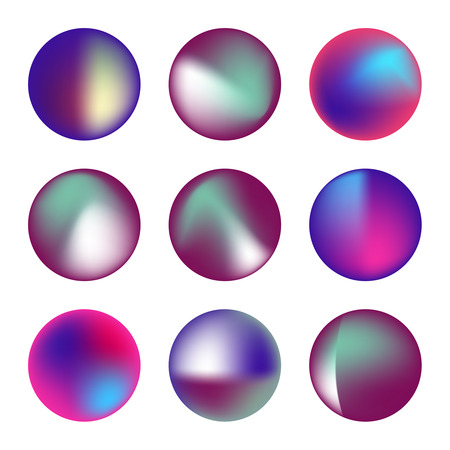 Insieme di vettore dei cerchi fluidi olografici. Round vibranti banner sfumati multicolori.