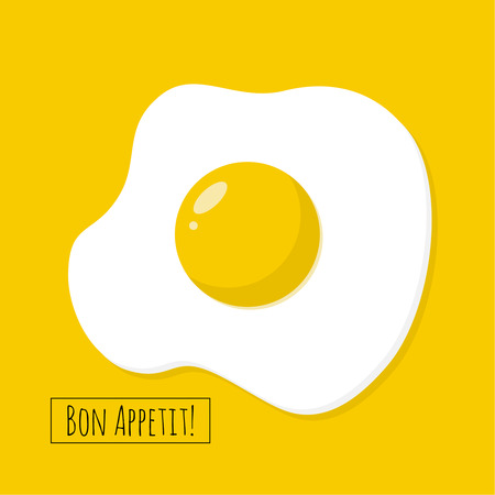Apetitoso huevo frito cocido con clara y yema. Ilustración de vector de desayuno.