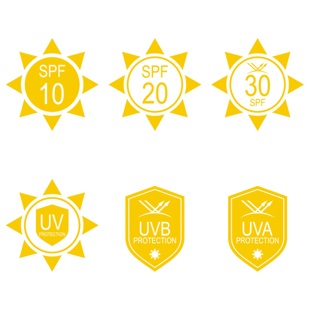 Vector set icons SPF. Protection from the sun UV, UVB, UVA rays. Illustration