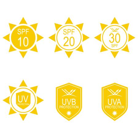 Vector set icons SPF. Protection from the sun UV, UVB, UVA rays. Иллюстрация