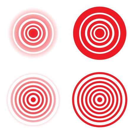 Set of pain red circle or localization mark, aching place sign. Abstract vector symbol of the disease focus.