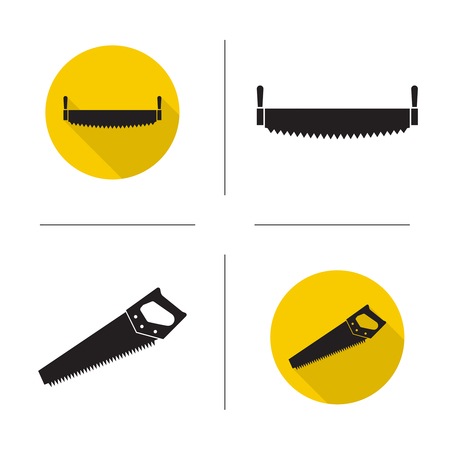 Set of vector icons of hand saws.