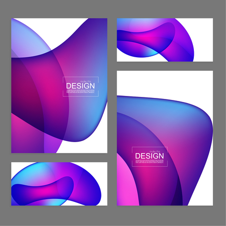 Set of fluid color covers. Vector background with colorful liquid gradient