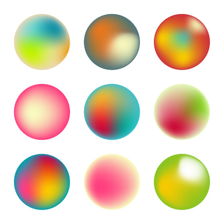 Vector set of holographic fluid circles. Round vibrant multicolored gradient banners.