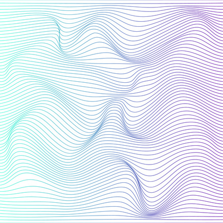 Wave distorted texture of color gradation. Abstract dynamical rippled surface. Vector stripe deformation background. Banco de Imagens - 110028049