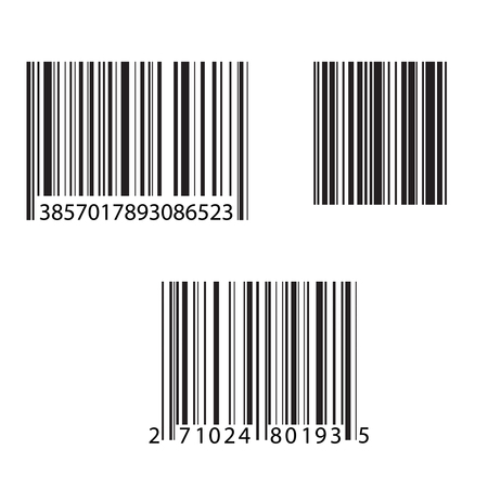 Set of barcode and number icon. Vector illustration. Illustration