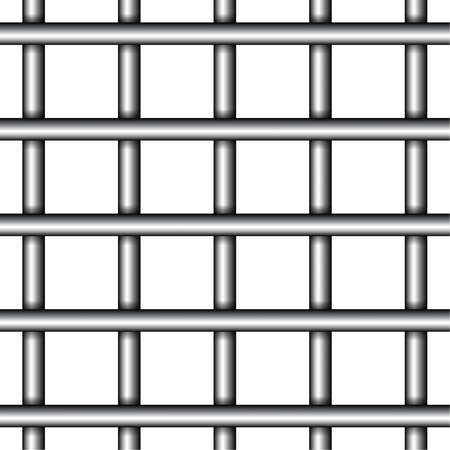 Realistic prison metal bars on white background. Vector illustration of iron jail cage. Illustration