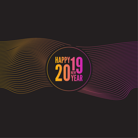 Happy New Year 2019. Vector abstract background with bright gradient wavy lines.