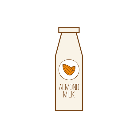 Vector icon with almond nuts and milk.