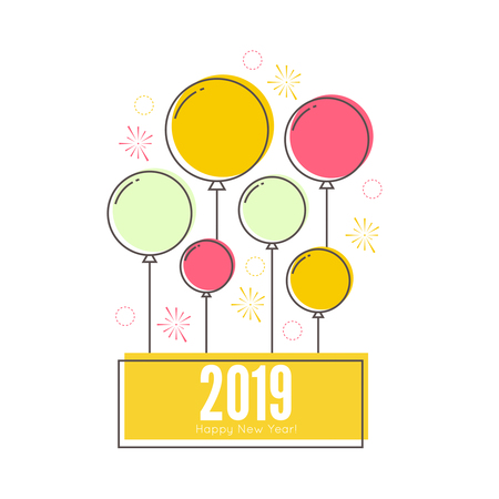 Creative happy new year 2019 with festive balloons. Vector illustration.