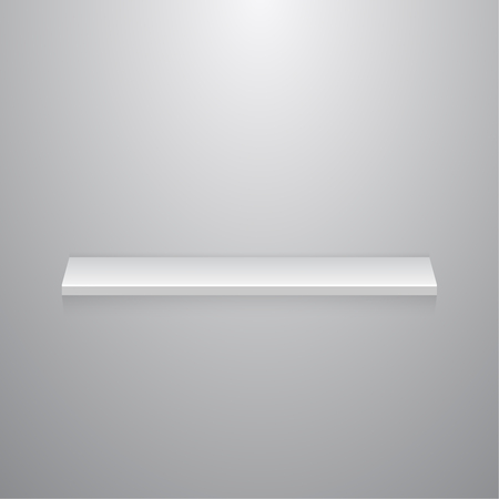 Empty white shelf on a gray wall with copy space. Vector abstract mock up realistic 3D.