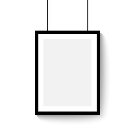 Black frame for paintings or photographs hanging on the wall. Vertical template vector mock up empty space. Ilustracja