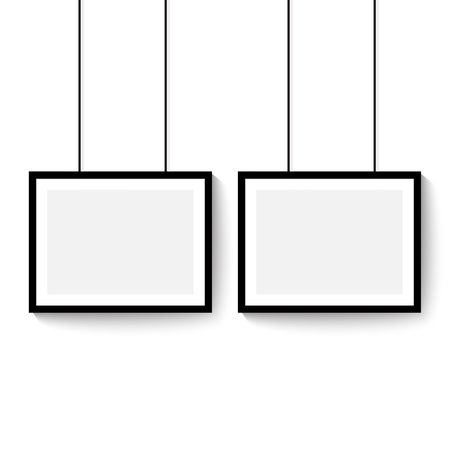 Black frame for paintings or photographs hanging on the wall. Horizontal template vector mock up empty space.
