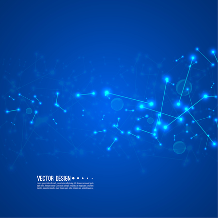 Stream of molecular structures and nano particles. High technology process. Science and neural network concept. Vector abstract background. Vectores