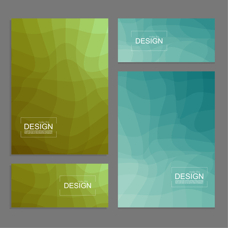 Set of book covers and banners design template with multi-colored distorted wave texture. Modern vector illustration.
