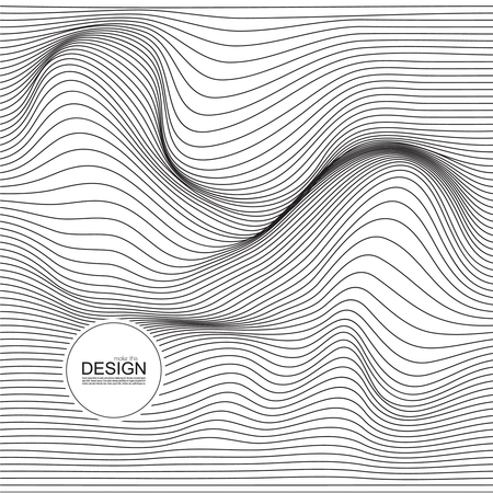 Distorted wave monochrome texture. Abstract dynamical rippled surface. Vector stripe deformation background. Ilustracja