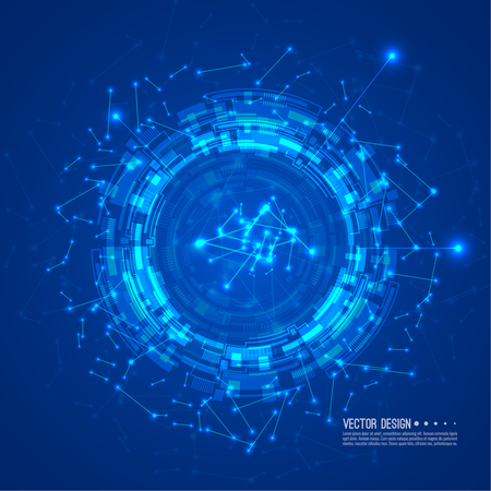 Abstract technology background Hi-tech communication concept. Sci-Fi Futuristic HUD. Vector illustration of scientific visualization.