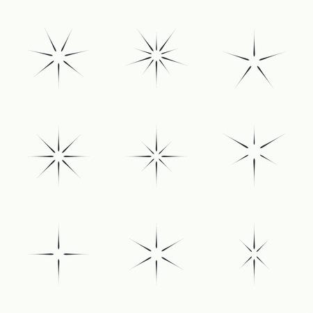 Vector set of sparkle lights stars. Stars with rays, explosion, fireworks. Ilustracja