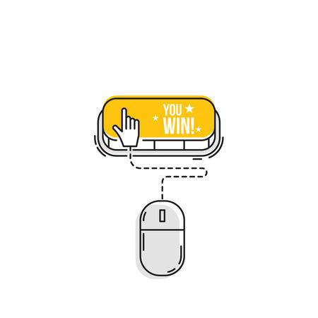 Computer mouse clicks the cursor on the you win button. Vector icon.