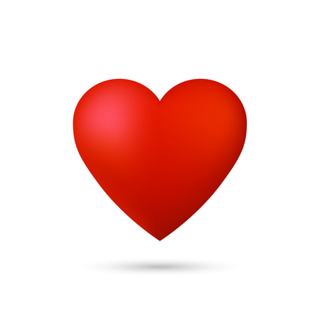 Shiny 3d vector heart icon with shadow on white background. Illustration