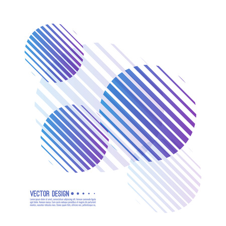 Abstract background with colorful sphere. Vector dynamical round element. Black and white circle striped.