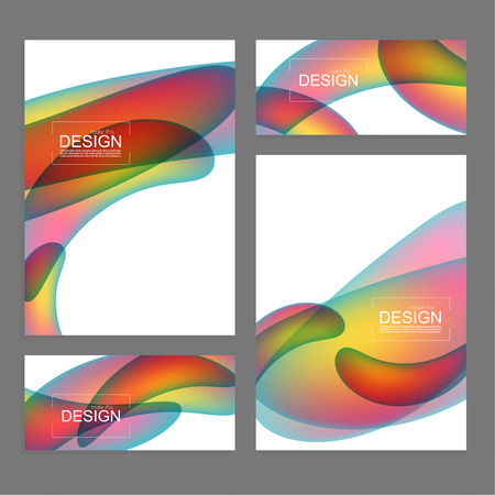 Set of fluid color covers. Vector background with colorful liquid gradient Ilustracja