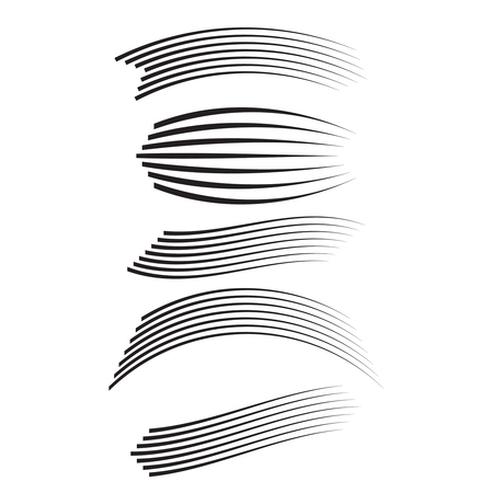 Vector set of different speed lines. Motion effect for design.