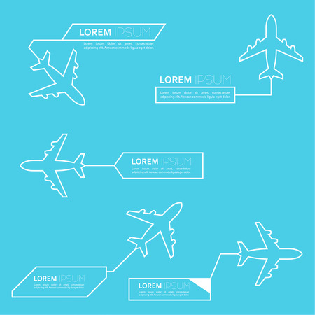 Digital callouts titles with aircraft. Set of vector templates, modern banners of lower third.