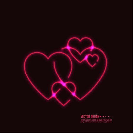 Neon glowing heart. Isolated on a black background. Line art vector illustration.