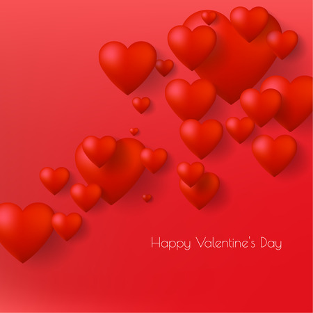Happy Valentine s Day greeting card design with 3d hearts. Vector illustrtation.
