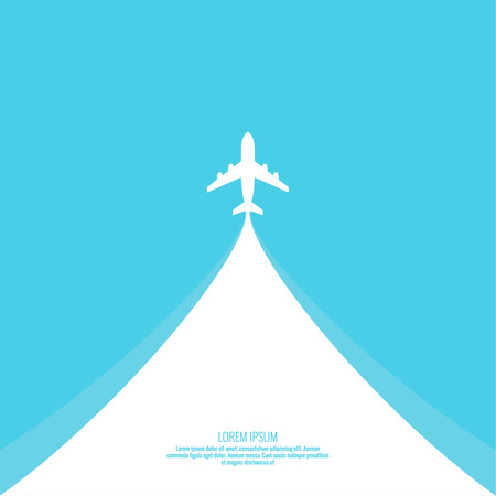 Plane passenger airliner takes off into the sky. Vector illustration of travel concept.