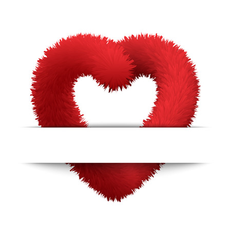 Vector abstract background with fluffy and furry red heart. Decoration for Valentine s day.