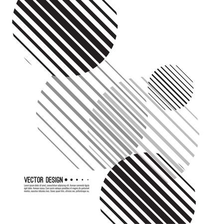 Abstract monochrome background with sphere. Vector dynamical round element. Black and white circle striped. Ilustracja