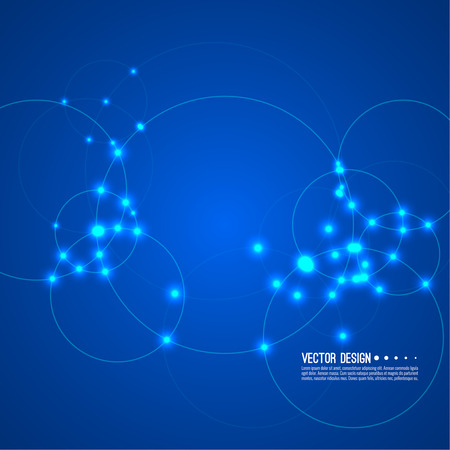 Vector abstract background with overlapping circles and dots. High tech design. Round banner with empty space for text. Node molecule structure. Science and connection concept.