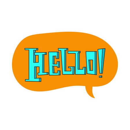 Speech bubble with hello quote.