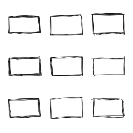 Set hand drawn rectangle, felt-tip pen objects. Text box and frames. Vector illustration. Stock Illustratie