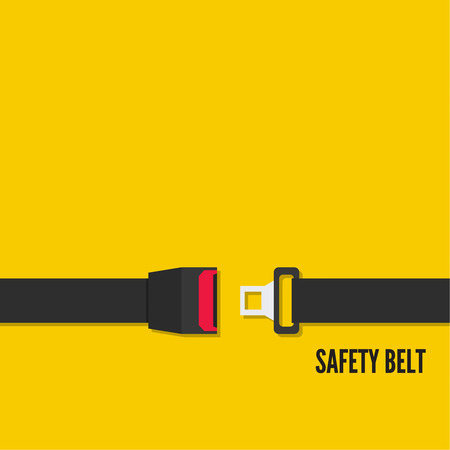 Seat Belt vector icon isolated on yellow background. Safety of movement on car, airplane.