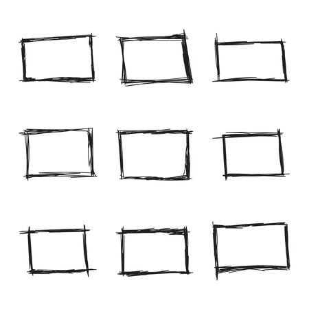 Imposta rettangolo disegnato a mano, oggetti pennarello. Casella di testo e cornici. Illustrazione vettoriale.