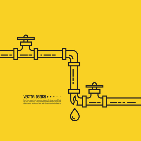Leaking water pipes. Broken pipeline with leakage, dripping fittings. Vector illustration Illustration