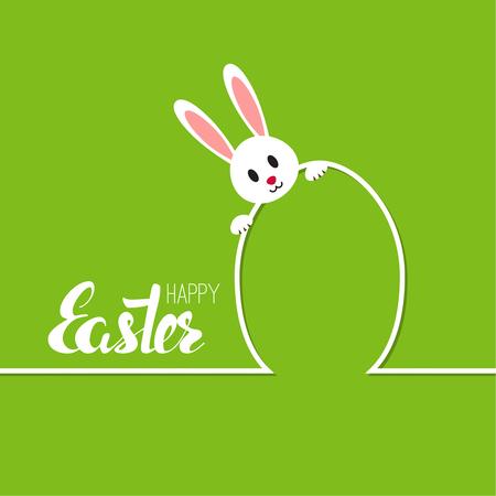 Illustrazione felice delle carte di pasqua con l'uovo, coniglietto. contorno minimo. Sfondo astratto con coniglio divertente di Pasqua. Calligrafia di vettore isolata. Iscrizione disegnata a mano. verde
