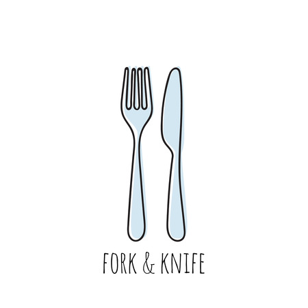Cutlery knife, fork vector doodle icons. Isolate on white background. Illustration