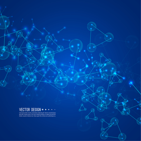 Molecule background with connected spherical particles, atoms. Vector molecular structure.  Chemical medical motion concept. Illustration