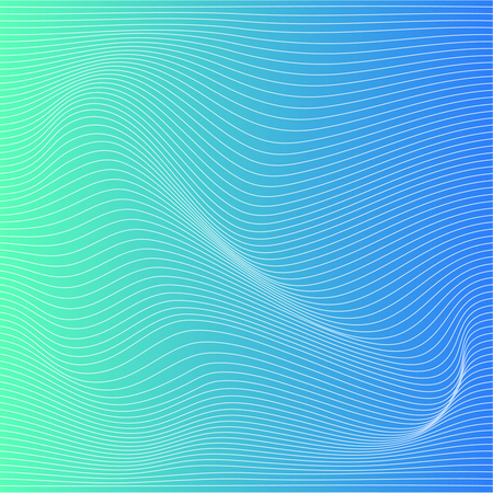 Wave distorted texture of color gradation. Abstract dynamical rippled surface. Vector stripe deformation background.