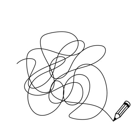 Random chaotic line drawn in pencil. Hand drawing insane tangled scribble clew. Vector illustration isolated on white background. Иллюстрация