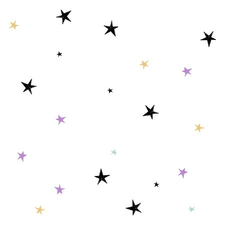 Set of cute hand drawn star. Abstract vector background with multicolored cute handdrawn starry.  イラスト・ベクター素材