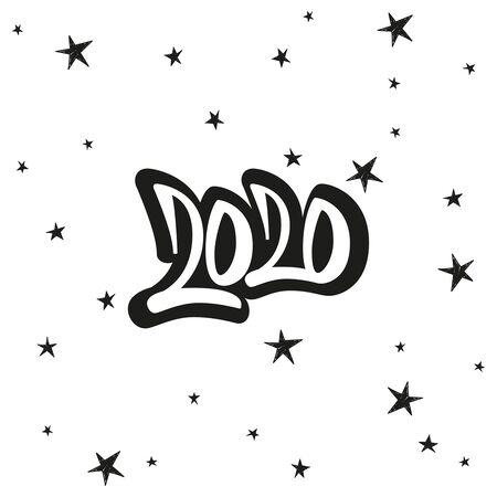 Greeting card design template with star and calligraphy for 2020 happy new year. Black number 2020 hand drawn lettering. Ilustracja