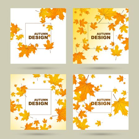 Set of abstract autumn background with yellow leaves of maple. Vector illustration with withered foliage. Stock Illustratie