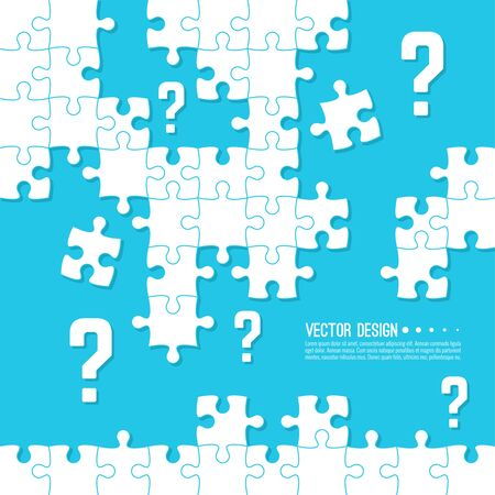 Vector abstract background with unfinished jigsaw puzzle pieces. Question mark and symbol. Problem solving concept.