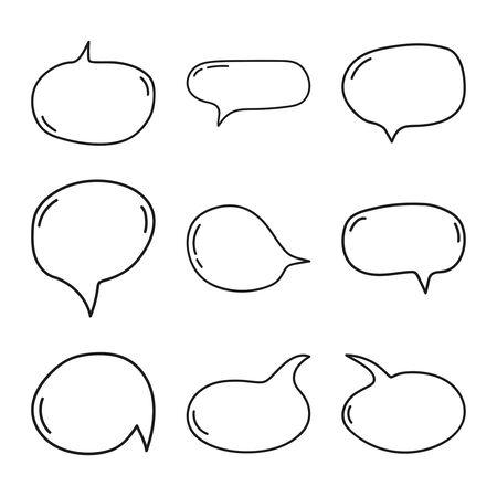 Hand drawn speech bubbles.