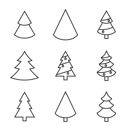 Set of vector christmas tree icons. Linear style of christmas symbols. Isolated on a black background. Çizim